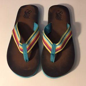 Rainbow Striped Flip Flops
